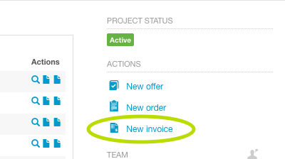 how do i create an invoice from a project bexio support