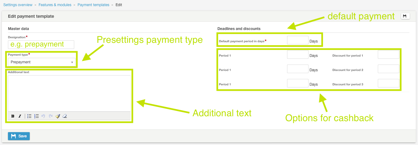 How can I edit payment templates? - Individual terms of payment ...